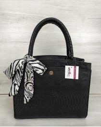 Классическая женская сумка Бьянка черная рептилия