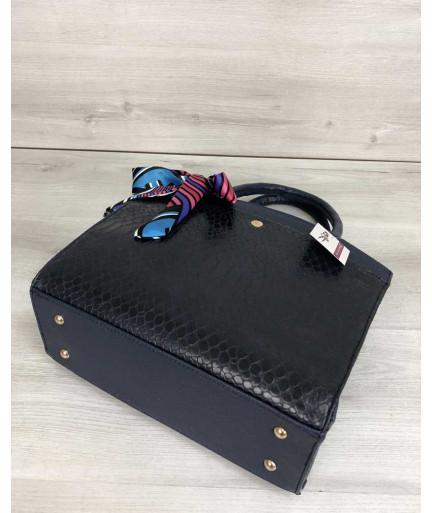 Классическая женская сумка Бьянка синего цвета со вставкой синяя кобра