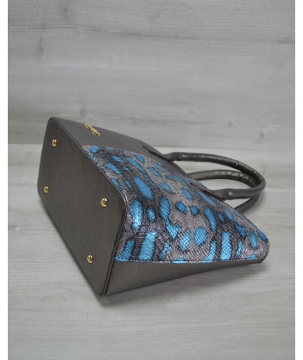 Классическая женская сумка «Две змейки» темно серая, голубая змея