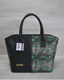 Классическая женская сумка «Две змейки» зеленая, зеленая змея
