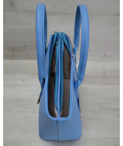 Классическая женская сумка «Две змейки» синий, малиновая змея