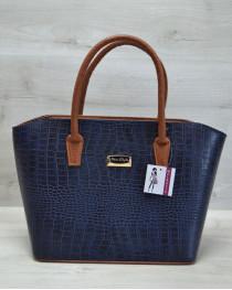 Классическая женская сумка «Две змейки» синий крокодил, ручки рыжие