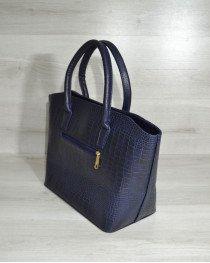 Классическая женская сумка «Две змейки» синий крокодил