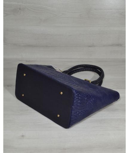 """Классическая женская сумка «Две змейки """" синяя рептилия"""