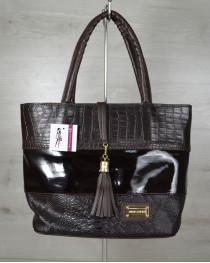 Комбинированная сумка Кисточка с лаковой вставкой