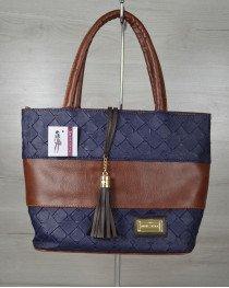 Комбинированная сумка Кисточка «Синий кубик»