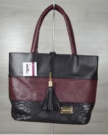 Комбинированная сумка Кисточка «Бордовая змея»