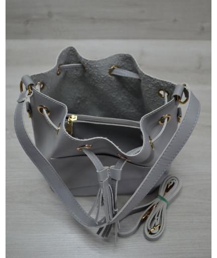 Молодежная сумка из эко-кожи  Люверс серого цвета