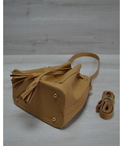 Молодежная сумка из эко-кожи  Люверс светло рыжего цвета