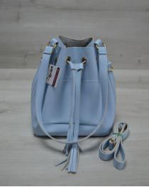 Молодежная сумка из эко-кожи  Люверс  голубого цвета