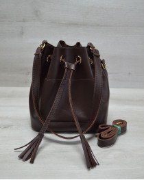 Молодежная сумка из эко-кожи  Люверс  коричневого цвета