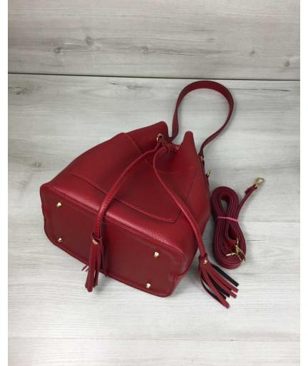 Молодежная сумка из эко-кожи  Люверс красного цвета