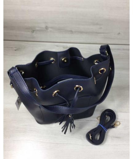 Молодежная сумка из эко-кожиЛюверс синего цвета