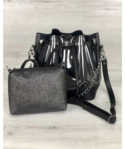 2в1 Молодежная сумка Люверс силикон с черным