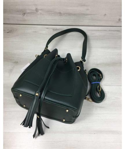 Молодежная сумка из эко-кожи  Люверс зеленого цвета