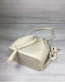 Молодежная сумка из эко-кожи  Люверс бежевого цвета