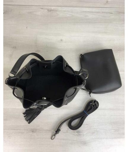 Молодежная сумка из эко-кожи  Люверс черного цвета (никель)