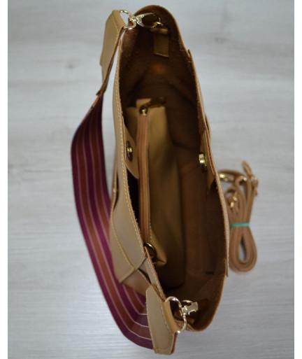 Женская сумка-шоппер из эко-кожияркий ремень горчичного цвета