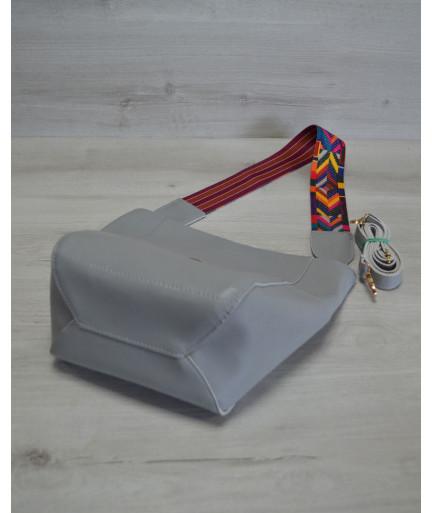 Женская сумка-шоппер из эко-кожияркий ремень серого цвета