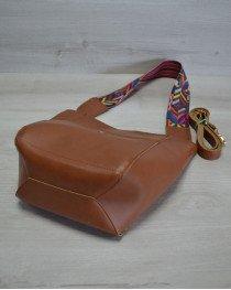 Женская сумка из эко-кожи  яркий ремень рыжего  цвета
