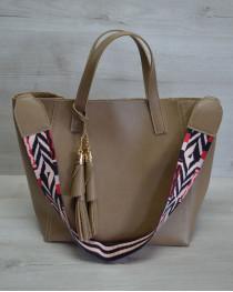 Женская сумка из эко-кожи два в одном кофейного цвета