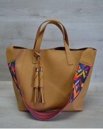 Женская сумка из эко-кожи два в одном горчичного цвета