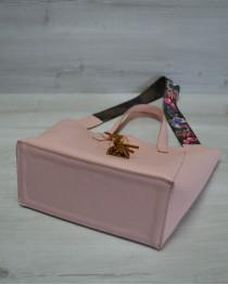 Женская сумка из эко-кожи два в одном пудрового цвета
