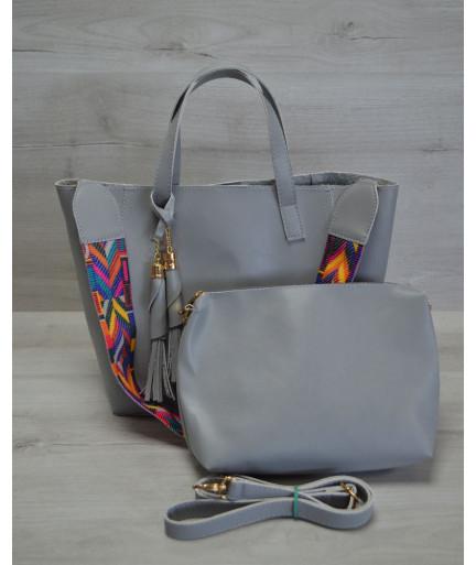 Женская сумка из эко-кожи два в одном серого цвета