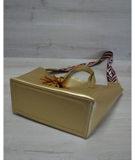 Женская сумка из эко-кожи два в одном золотого  цвета