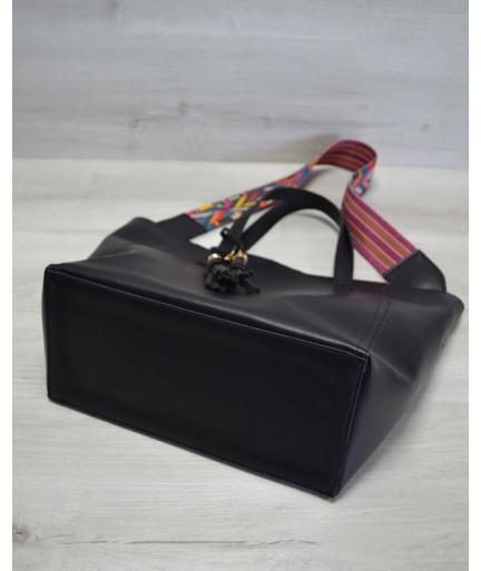 Женская сумка из эко-кожи два в одном черного цвета