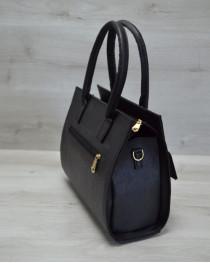 Каркасная женская сумка с  накладным карманом лаковый черный