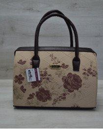 Каркасная женская сумка Саквояж бежевые цветы с коричневыми ручками