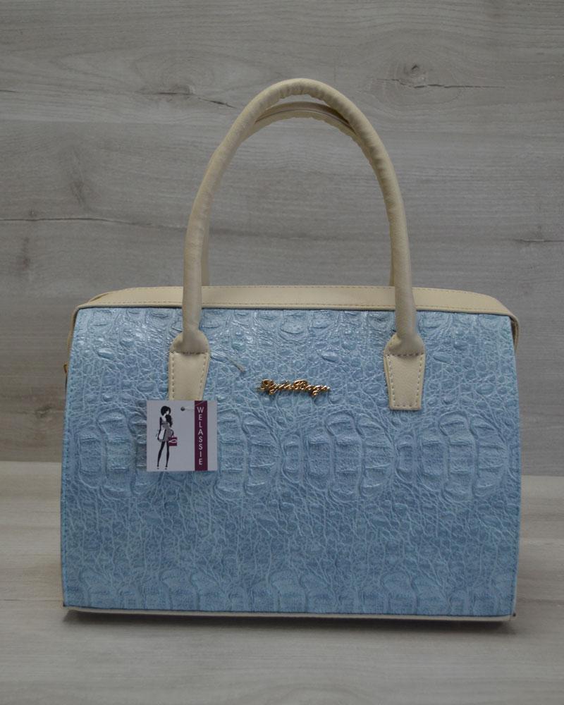 Каркасная женская сумка Саквояж голубой крокодил с бежевыми ручками 896a37fff83
