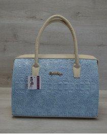 Каркасная женская сумка Саквояж голубой крокодил с бежевыми ручками