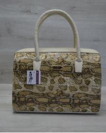 Каркасная женская сумка Саквояж золотая змея с бежевыми ручками