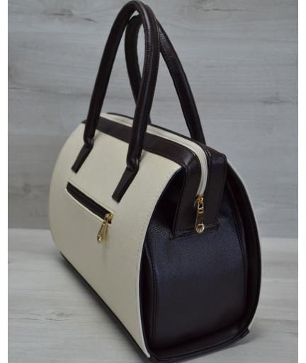 Каркасная женская сумка Саквояж бежевый гладкий с коричневыми ручками