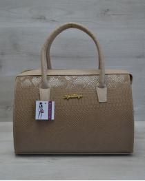 Каркасная женская сумка Саквояж кофейная рептилия с кофейными ручками