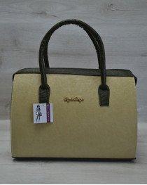 Каркасная женская сумка Саквояж оливковый гладкий с зелеными ручками