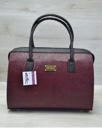 Каркасная женская сумка Саквояж бордовая змея с черными ручками