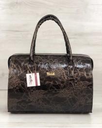 Каркасная женская сумка Саквояж коричневый мраморный лак