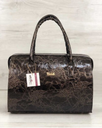 Каркасная женская сумка Саквояж коричневый лаковый мрамор