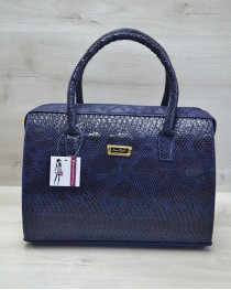 Каркасная женская сумка Саквояж синяя рептилия с бежевыми гладким