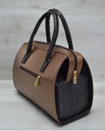 Каркасная женская сумка Саквояж бронзовый гладкий с коричневыми ручками