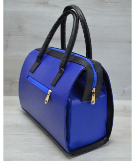 Каркасная женская сумка Саквояж электрик гладкий с черными ручками