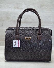 Каркасная женская сумка Саквояж коричневая рептилия с бежевым гладким