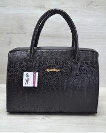 Каркасная женская сумка Саквояж черный крокодил
