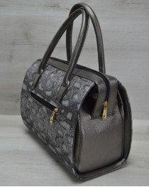 Каркасная женская сумка Саквояж металлик змея