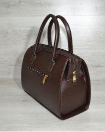 Каркасная женская сумка Саквояж коричневый гладкий материал