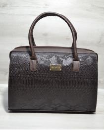 Каркасная женская сумка Саквояж коричневая рептилия