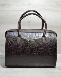 Каркасная женская сумка Саквояж коричневый крокодил